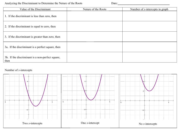 Analyzing the Discriminant Worksheet