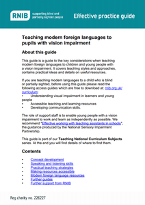 Teacher Guide for Educators of the Blind: Foreign Language Lesson Plan