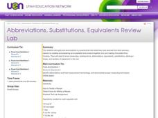 Abbreviations, Substitutions, Equivalents Review Lab Lesson Plan