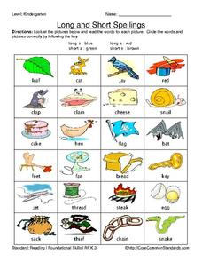 Long and Short Spellings Worksheet
