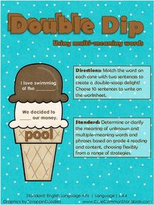 Double Dip: Using Multi-Meaning Words Activities & Project