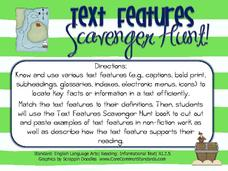 Text Features Scavenger Hunt! Activities & Project