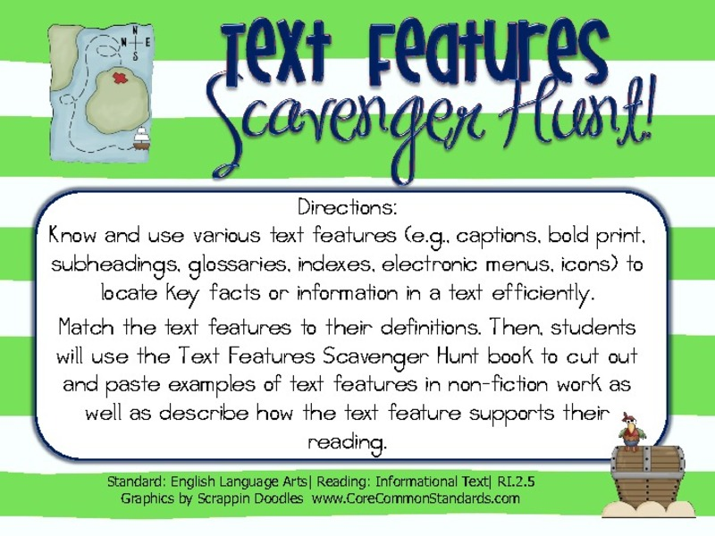 Text Features Scavenger Hunt 2nd Grade Activities Project – Text Feature Worksheet