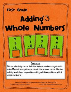 Adding 3 Whole Numbers Activities & Project