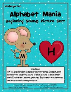 Alphabet Mania: Beginning Sounds Picture Sort Activities & Project