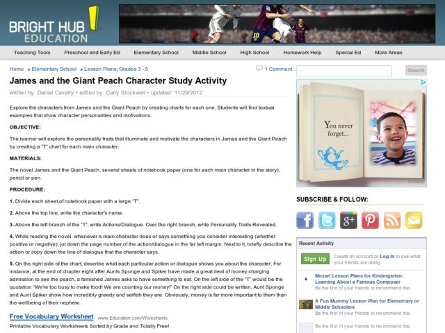 James and the Giant Peach Character Study Activities & Project