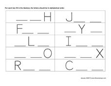 ABC Fill in the Blanks Worksheet