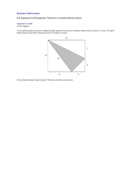 Applying the Pythagorean Theorem in a Mathematical Context Activities & Project