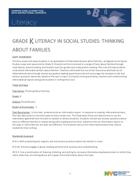Grade K Literacy in Social Studies: Thinking About Families Unit