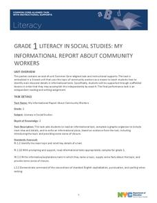 Grade 1 Literacy in Social Studies: My Informational Report About Community Workers Unit