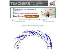 Forces of Nature Writing Paper Worksheet
