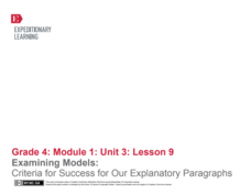 Examining Models: Criteria for Success for Our Explanatory Paragraphs Lesson Plan
