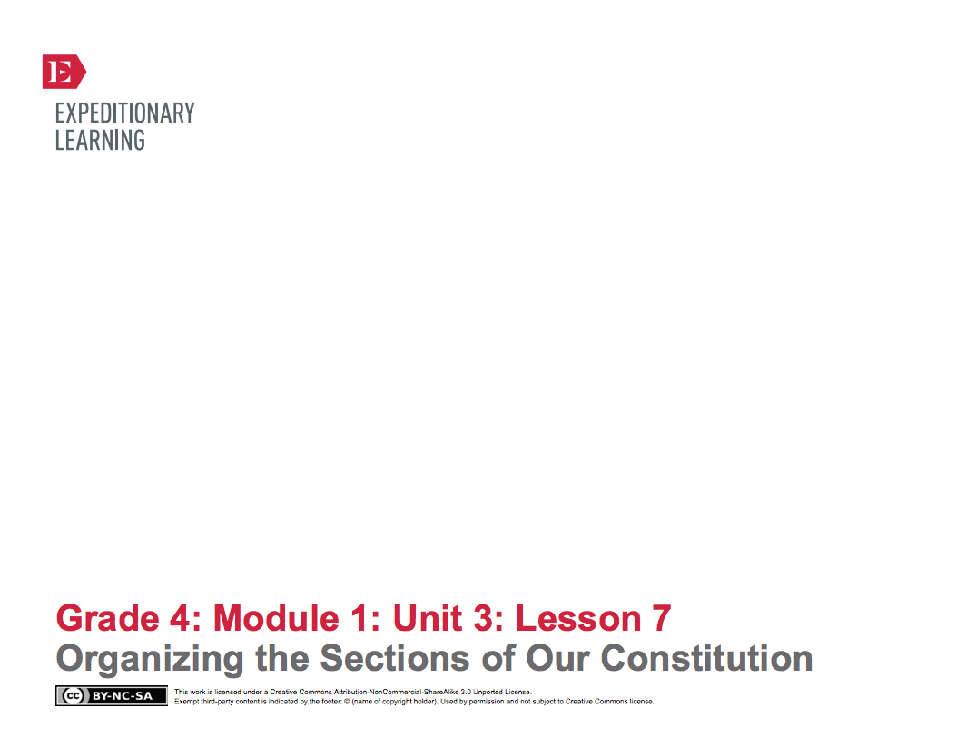 Organizing the Sections of Our Constitution Lesson Plan