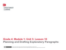 Planning and Drafting Explanatory Paragraphs Assessment