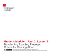 Developing Reading Fluency: Criteria for Reading Aloud Lesson Plan