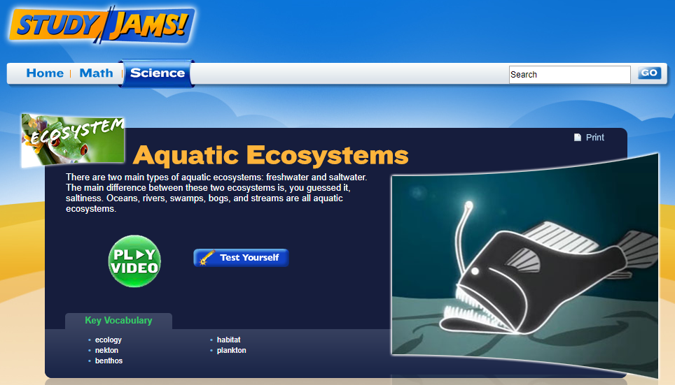 Study Jams! Aquatic Ecosystems Interactive