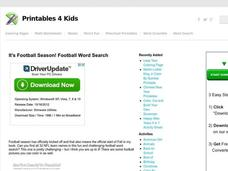 Football Word Search Worksheet