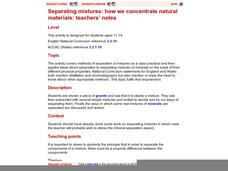 Separating Mixtures: How We Concentrate Natural Materials Lesson Plan