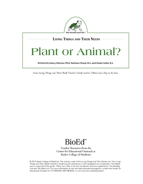 Plant or Animal? Lesson Plan