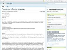 Formal and Informal Language Lesson Plan