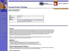 Formal Letter Writing Lesson Plan