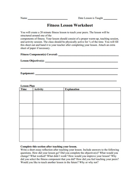 Fitness Lesson Worksheet Graphic Organizer