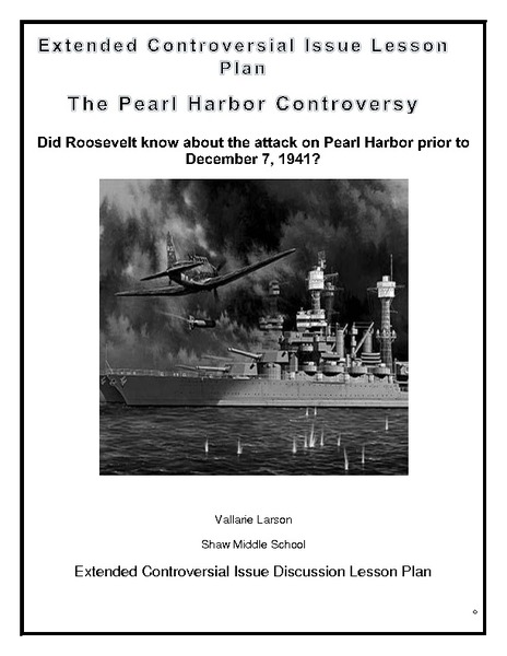 The Pearl Harbor Controversy Lesson Plan