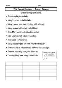 the secret garden proper nouns worksheet for 4th 7th grade lesson planet. Black Bedroom Furniture Sets. Home Design Ideas
