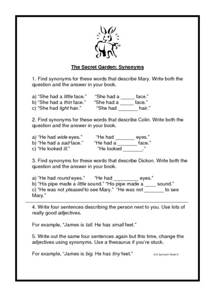 The Secret Garden - Synonyms Worksheet for 4th - 7th Grade