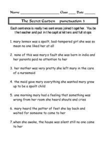 The Secret Garden - Punctuation 3 4th - 7th Grade Worksheet ...