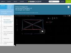 Area of Diagonal Generated Triangles of Rectangle are Equal Video