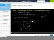 Sum of Consecutive Odd Integers Video