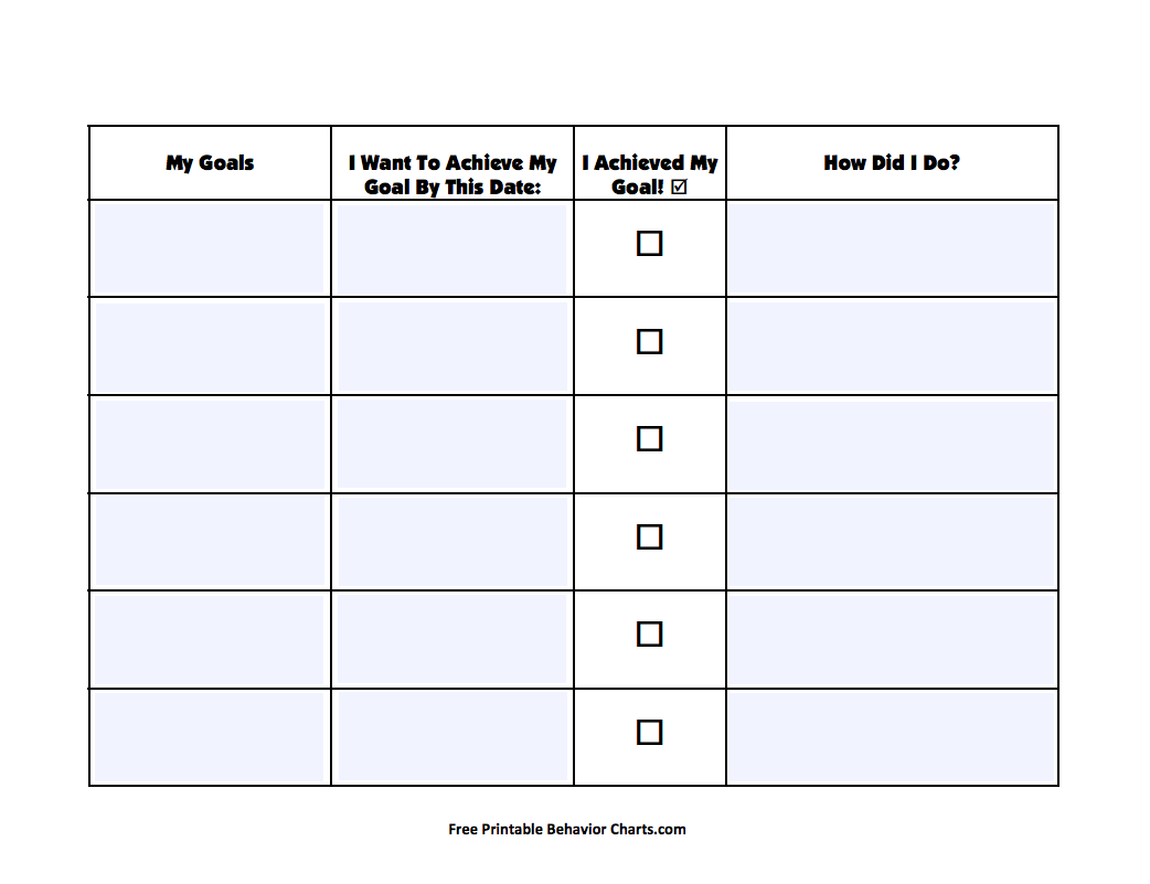 photograph regarding Printable Goal Charts identified as Intent Chart Printables Template for 2nd - 8th Quality