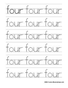 Four Tracing Practice Worksheet