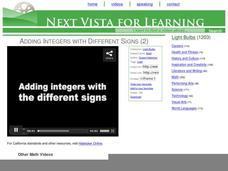 Adding Integers with Different Signs (2) Video