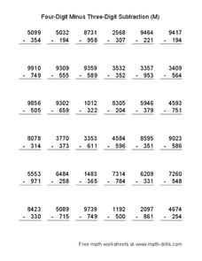 Four-Digit Minus Three-Digit Subtraction (M) Worksheet