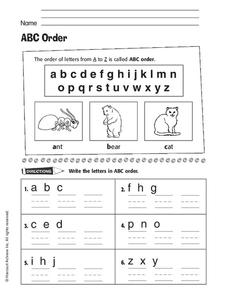 ABC Order Worksheet for 1st - 2nd Grade | Lesson Planet
