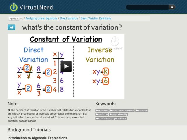 What's the Constant of Variation? Video