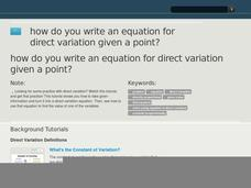How Do You Write an Equation for Direct Variation Given a Point? Video