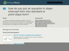 How Do You Put an Equation in Slope-Intercept Form Into Standard or Point-Slope Form? Video