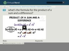 What's the Formula for the Product of a Sum and a Difference? Video
