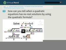 How Can You Tell When a Quadratic Equations Has No Real Solutions by Using the Quadratic Formula? Video