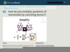 How Do You Multiply Quotients of Monomials by Canceling Factors? Video