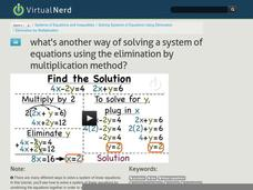 What's Another Way of Solving a System of Equations Using the Elimination by Multiplication Method? Video