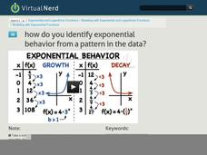 How Do You Identify Exponential Behavior from a Pattern in the Data? Video