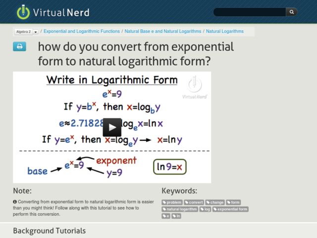 How Do You Convert From Exponential Form to Natural Logarithmic Form? Video