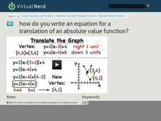 How Do You Write an Equation for a Translation of an Absolute Value Function? Video