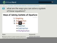 What Are the Ways You Can Solve a System of Linear Equations? Video