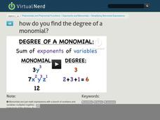 How Do You Find the Degree of a Monomial? Video