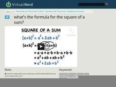 What's the Formula for the Square of a Sum? Video
